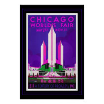 Vintage Travel Poster Chicago Worlds Fair Recolor