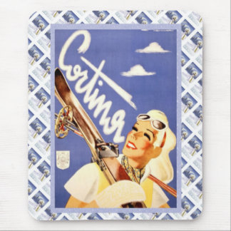 Vintage travel poster, Cortina d'ampezzo Mouse Pad