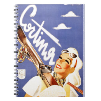 Vintage travel poster, Cortina d'ampezzo Spiral Note Books