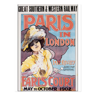 Vintage travel poster design of a lady postcard