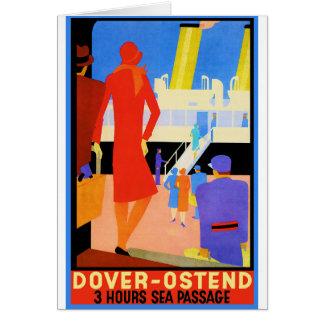 Vintage Travel Poster: Dover Ostend Greeting Card