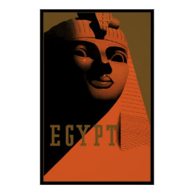 Vintage Travel Poster, Egypt, Africa with Sphinx