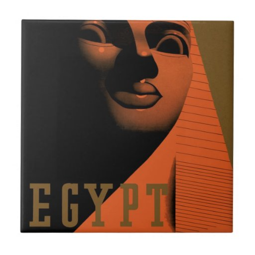 Vintage Travel Poster, Egypt, Africa with Sphinx Ceramic Tile