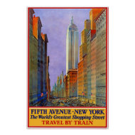 Vintage Travel Poster Fifth Avenue New York