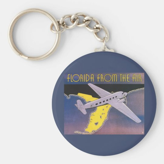 Vintage Travel Poster, Florida from Air Airplane Keychain