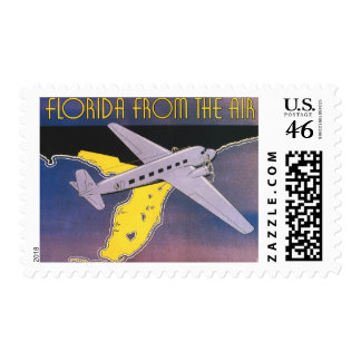 Vintage Travel Poster, Florida from Air Airplane Stamps