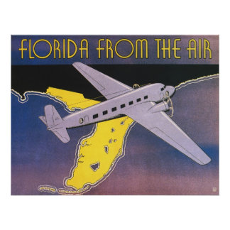 Vintage Travel Poster, Florida from Air Airplane Poster