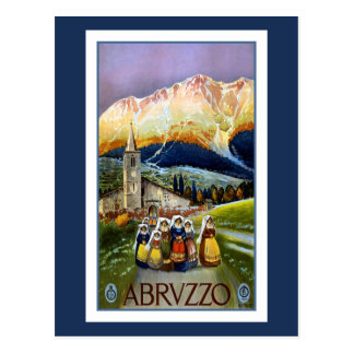 Vintage Travel Poster For Abrvzzo Italy Postcard
