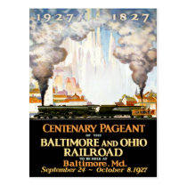 Vintage Travel Poster For Baltimore Railroad Postc