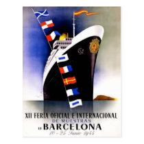 Vintage Travel Poster For Barcelona Postcard
