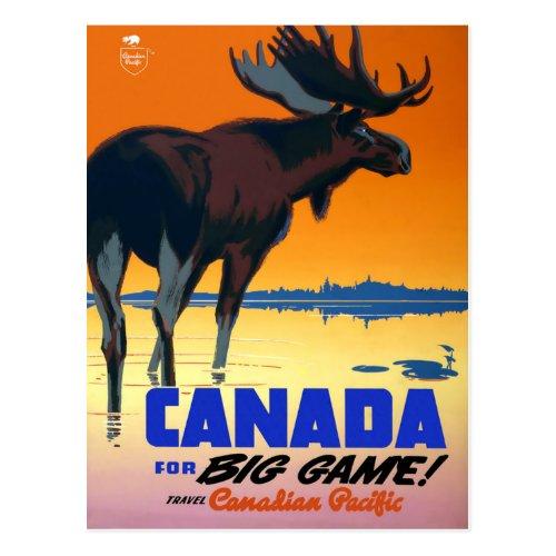 Vintage Travel Poster For Canada Postcard