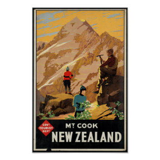 Vintage Travel Poster for New Zealand
