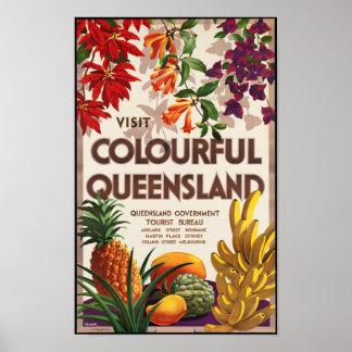 Vintage Travel Poster for Queensland, Australia