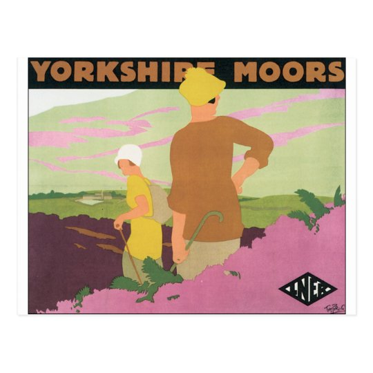 Vintage Travel Poster for Yorkshire Moors Postcard