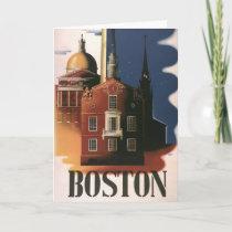 Vintage Travel Poster from Boston, Massachusetts Card