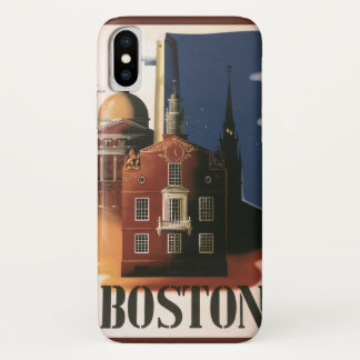 Vintage Travel Poster from Boston, Massachusetts iPhone X Case