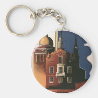 Vintage Travel Poster from Boston, Massachusetts Basic Round Button Keychain