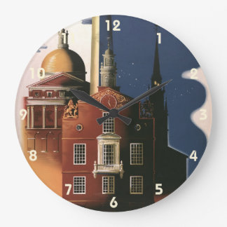 Vintage Travel Poster from Boston, Massachusetts Large Clock