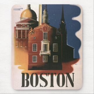 Vintage Travel Poster from Boston, Massachusetts Mouse Pad
