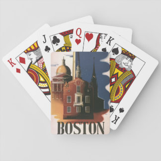 Vintage Travel Poster from Boston, Massachusetts Playing Cards