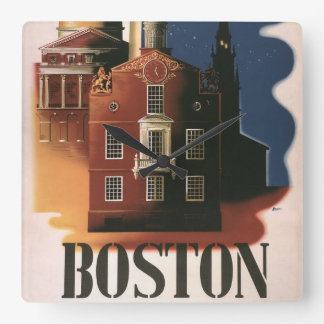 Vintage Travel Poster from Boston, Massachusetts Square Wall Clock