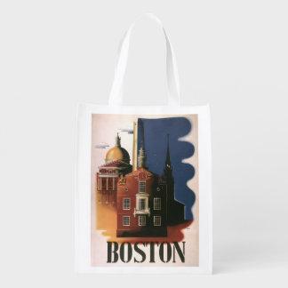 Vintage Travel Poster from Boston, Massachusetts Grocery Bags