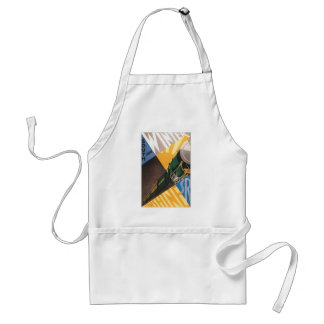 Vintage Travel Poster Graphic of Train Adult Apron