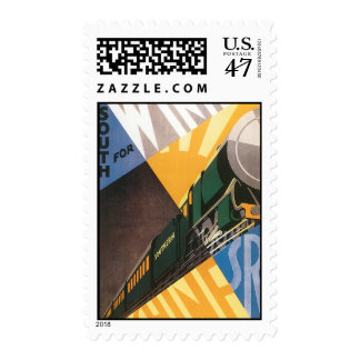 Vintage Travel Poster Graphic of Train Postage Stamp