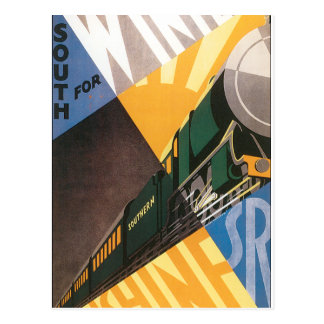 Vintage Travel Poster Graphic of Train Postcard