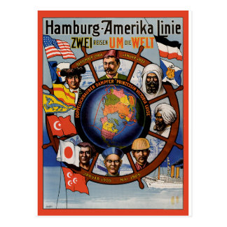 Vintage Travel Poster: Hamburg-America Line Postcard