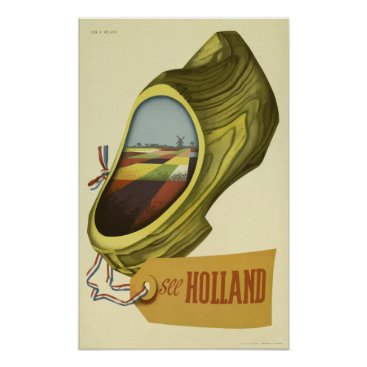 Art Themed Vintage Travel Poster Holland  , Dutch Clog