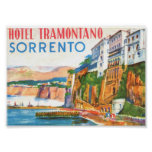 Vintage Travel Poster, Hotel Sorrento Italy Poster