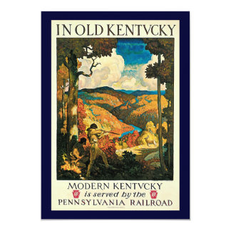 Vintage Travel Poster, In Old Kentucky, NC Wyeth 5x7 Paper Invitation Card