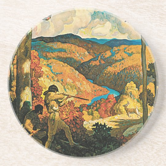 Vintage Travel Poster, In Old Kentucky, NC Wyeth Sandstone Coaster