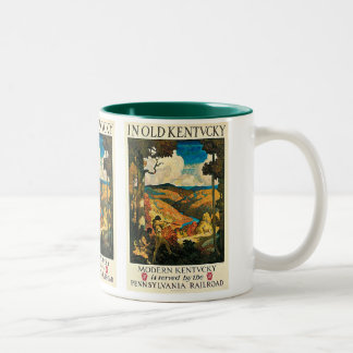 Vintage Travel Poster, In Old Kentucky, NC Wyeth Two-Tone Coffee Mug