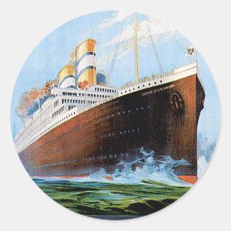 Vintage Travel Poster: Italian Ocean Liner Classic Round Sticker