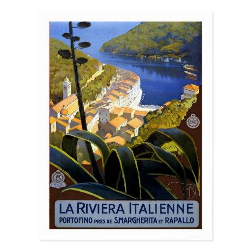 Vintage Travel Poster,Italian Riviera Postcard