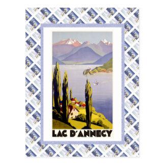 Vintage travel poster, Lac d'Annecy Postcard