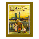 Vintage travel poster, London Town, Postcard