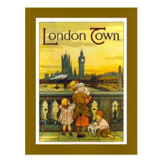 Vintage travel poster, London Town, Postcard