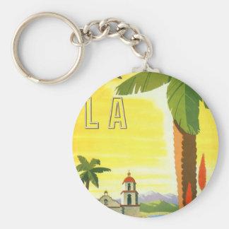 Vintage Travel Poster, Los Angeles, California Basic Round Button Keychain