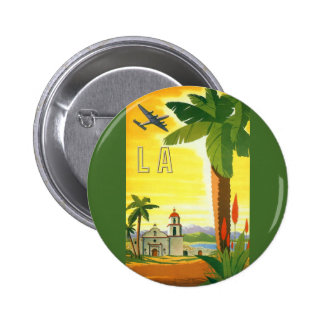 Vintage Travel Poster, Los Angeles, California Button