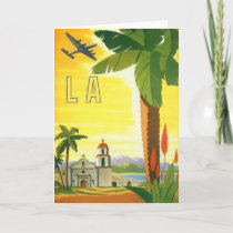 Vintage Travel Poster, Los Angeles, California Card
