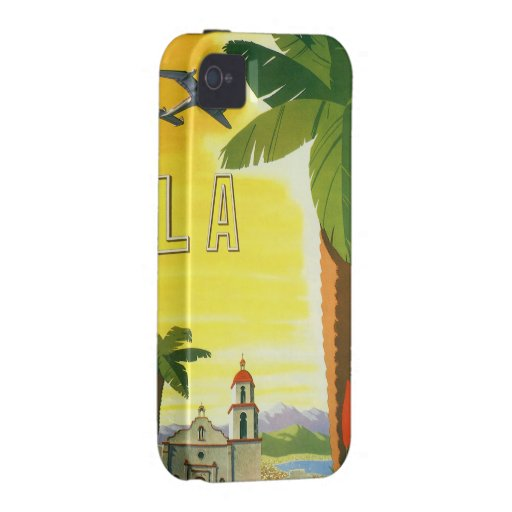 Vintage Travel Poster, Los Angeles, California Vibe iPhone 4 Covers