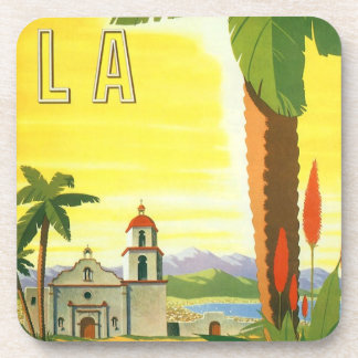 Vintage Travel Poster, Los Angeles, California Drink Coaster