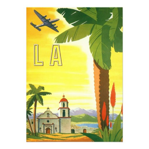 Vintage Travel Poster, Los Angeles, California Personalized Announcements