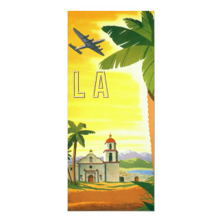 "Vintage Travel Poster, Los Angeles, California 4"" X 9.25"" Invitation Card"
