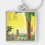 Vintage Travel Poster, Los Angeles, California Keychain