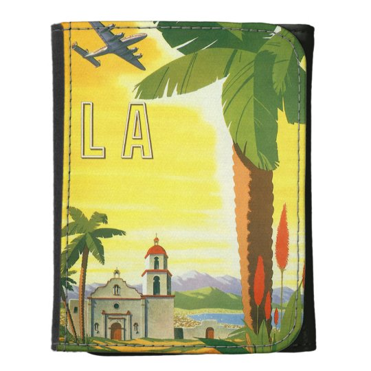 Vintage Travel Poster, Los Angeles, California Leather Wallets