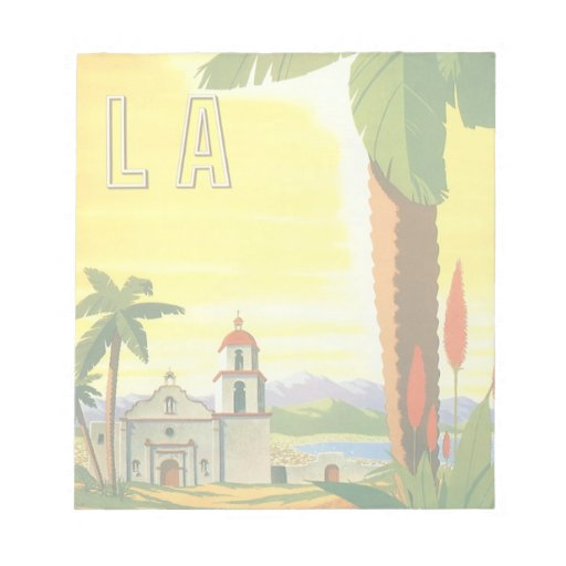 Vintage Travel Poster, Los Angeles, California Memo Notepads